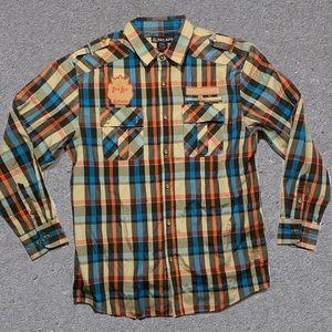 Red Ape plaid 2xl button up shirt men's